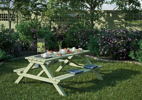 ELLA Picknicktisch rechteckig B 180 x T 170 x H 75 cm Sitzbohlen 40 mm stark, #66035