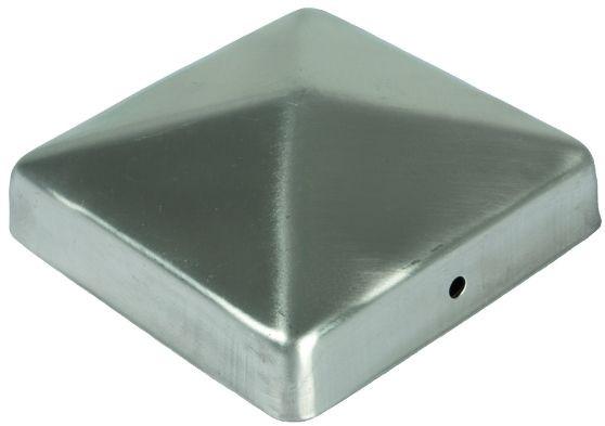 Pfostenabdeckung aus Metall 7 x 7 cm, Pyramide Edelstahl