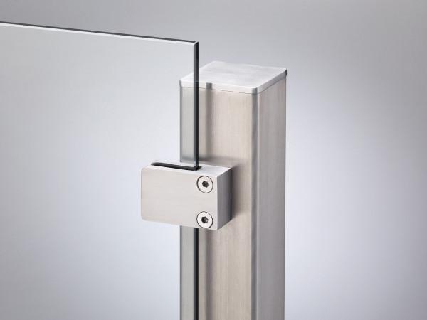 VETRO Endpfosten V2A 60/60 x 970-1270 mm, Anfertigung zum Aufschrauben, Klemmbacken nach links #8507