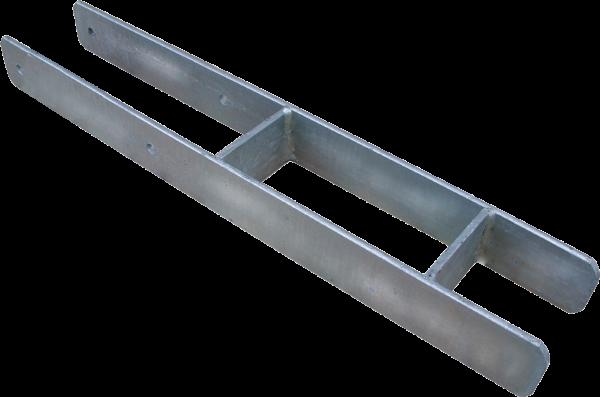 H-Pfostenträger schwer - 91 mm EDELSTAHL, für Pfosten 9 x 9 cm