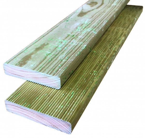 Konstruktionsholz grün 20 x 95 x 3000 mm einseitig geriffelt