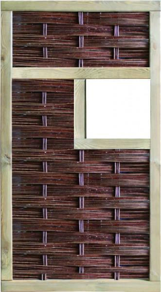 LABO-3D Weidengeflechtzaun 94 x 180 cm, 1 Fenster mittig Rahmen 70 x 35 mm