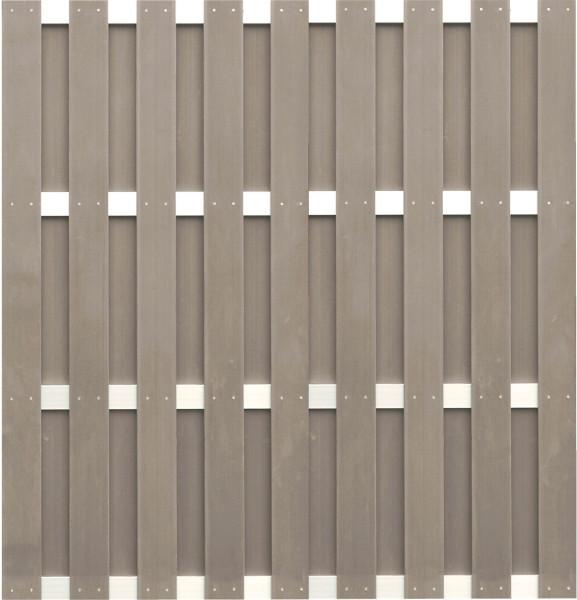 JINAN-Serie braun 180 x 180 cm, WPC-Bretterzaun Querriegel ALU anodisiert