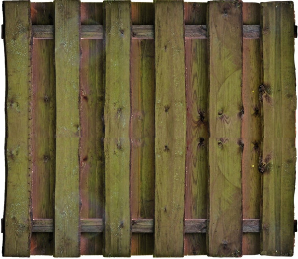 SEELAND-Serie kd-braun 180 x 150 cm, Bretter sägerauh, mit Baumkante ca. 16mm, Riegel 30/80 mm