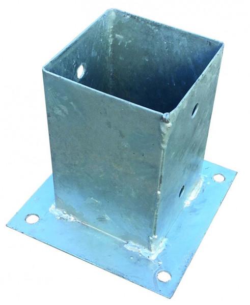 Pfostenträger zum Aufschrauben 9 x 9 cm feuerverzinkt, mit rechteckiger Grundplatte