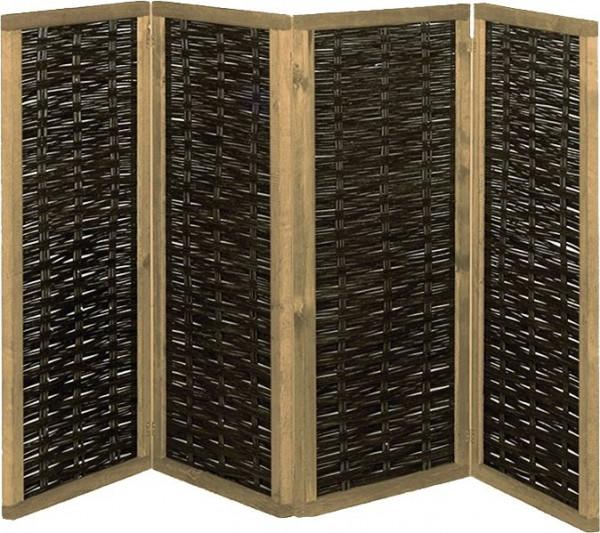 PAULINA Paravent aus Weide 240 x 180 cm (4x 60 x 180 cm) 4-teilig mit Scharnieren