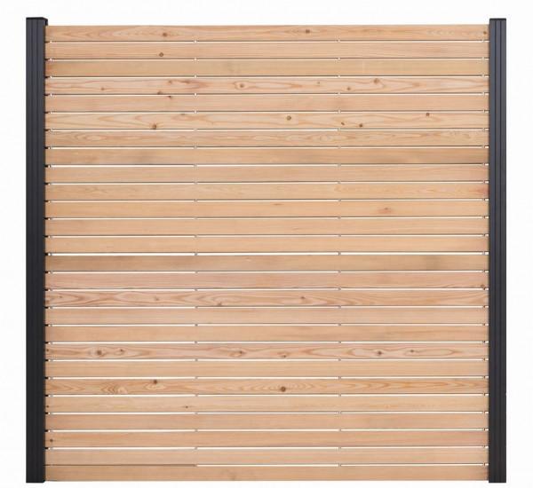 TAIGA-Serie Steckzaunelement Sibirische Lärche, 180 x 180 cm 2-tlg. im Paket, 4 VERBINDER BITTE EX