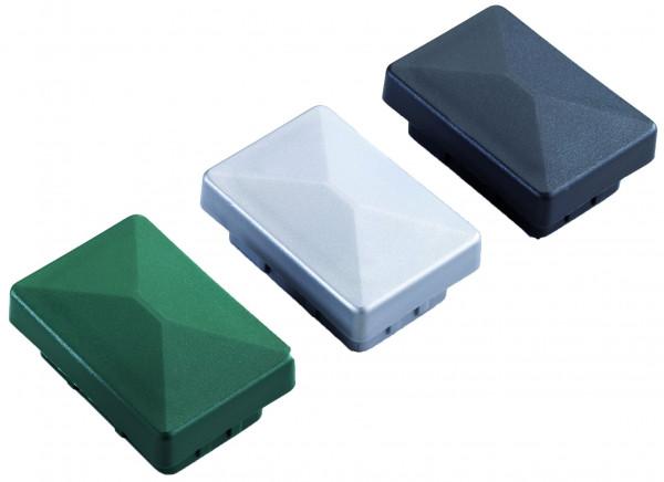 Pfostenkappe Kunststoff f. RR 40/60 grün# ohne Überstand / mit Überstand