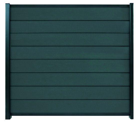 GOTLAND-Serie WPC-Steckzaunsystem Zaunset für ein Zaunfeld 180 x 175 cm ANTHRAZIT / ANTHRAZIT, karto