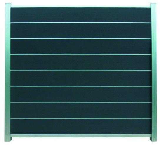 GOTLAND-Serie WPC-Steckzaunsystem Zaunset für ein Zaunfeld 180 x 175 cm ANTHRAZIT / SILBER, kartonve