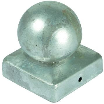Pfostenabdeckung aus Metall, 7 x 7 cm Kugel Feuerverzinkt