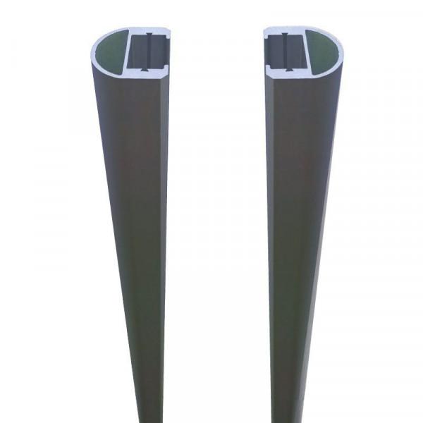 RUDE-Systemglas Universalleisten für Steckzaunsysteme ANTHRAZIT SET á 2 Leisten, 175 cm, inkl. Dicht