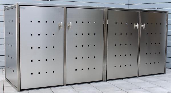 INNING 4er-Müllbox Edelstahl B 2230 x T 600 x H 1000 mm für 4 Tonnen bis 120 l Edelstahl gebürstet
