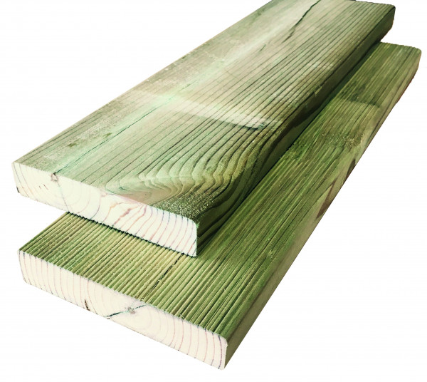 Konstruktionsholz grün 28 x 145 einseitig geriffelt versch.Längen
