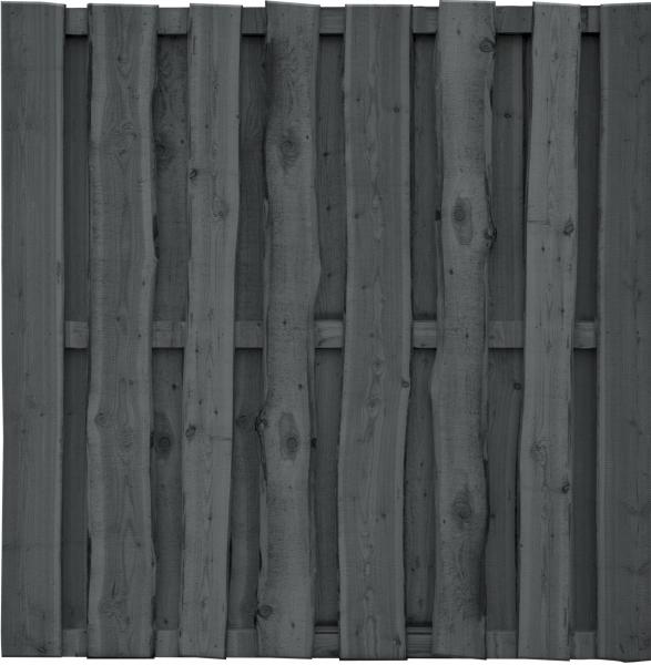 FALSTER-Serie, grau imprägniert 180 x 180 cm, sägerauh Bretter 16 x 110/160 mm, Riegel 30/60 mm #511