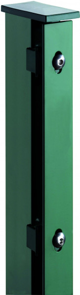 JERRY Zaunpfosten RAL 6005 grün f. 1230 mm, RR60/40 x 1700 mm mit Flacheisenleiste