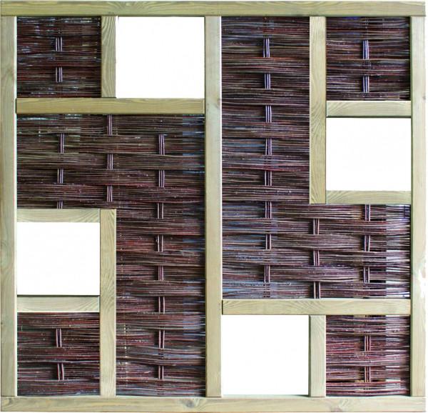 LABO-3D Weidengeflechtzaun 180 x 180 cm, 4 Fenster Rahmen 70 x 35 mm