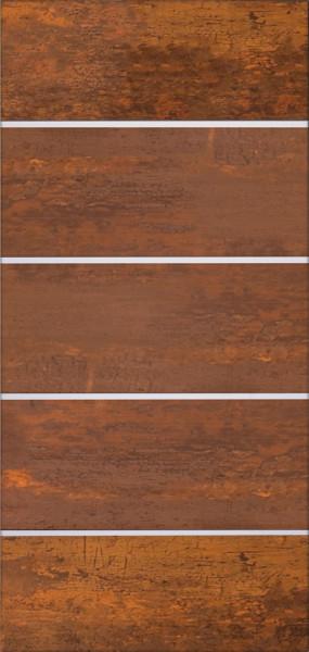 FARÖ-Serie HPL-Steckzaunsystem Torfüllung DEKO-ROST, 5 Lamellen 6 x 329 mm, ohne Aluleisten