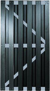 KANTON-Serie TÜR ALU/Anthrazit 90 x 180 cm, WPC-Brettertür inkl. Beschlagset, Schloß und Drücker