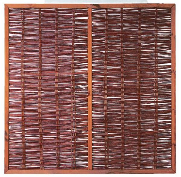 FOGO Weidengeflechtzaun mit Rahmen und Strebe 180 x 180 cm