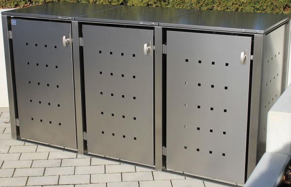 ICKING 3er-Müllbox Anthrazit B 2265 x T 795 x H 1160 mm für 3 Tonnen bis 240 l Edelstahl pulverbesch