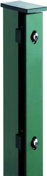 JERRY Eck-Zaunpfosten RAL 6005 grün f. 630 mm Zaun, RR60/40 x 1000 mm mit Flacheisenleiste