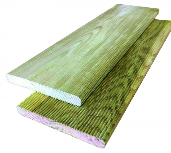 Konstruktionsholz grün 19 x 145 x 4000 mm einseitig geriffelt
