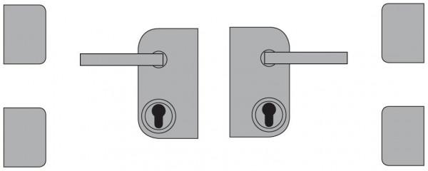VETRO TÜR-Beschlagset V2A inkl. Schloßkasten, Drücker, Bänder DIN Links 85142
