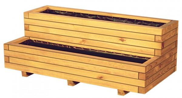 VITJA Blumenkübel B 100 x T 50 x H 40 cm, 2 Stufen inkl. Folieneinsatz