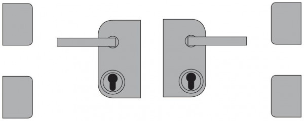 VETRO TÜR-Beschlagset V2A inkl. Schloßkasten, Drücker, Bänder DIN Rechts #85143