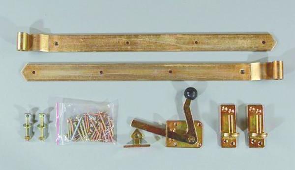 Einzeltor-Beschlag, gelb verzinkt Überwurfbeschlag, für Torbreiten bis 100 cm