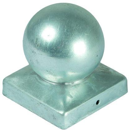 Pfostenabdeckung aus Metall, 9 x 9 cm Kugel Feuerverzinkt