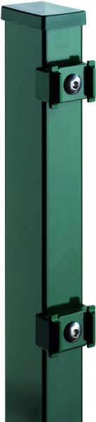 TOM ECK-Zaunpfosten RAL 6005 grün f. 1830 mm Zaun, RR60/40 x 2400 mm mit Klemmhalter