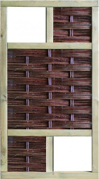 LABO-3D Weidengeflechtzaun 94 x 180 cm, 2 Fenster oben+unten Rahmen 70 x 35 mm