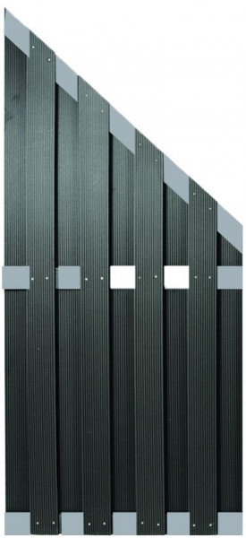 KANTON-Serie ECKE ALU/Anthrazit 90 x 180/90 cm, WPC-Bretterzaun # KE230