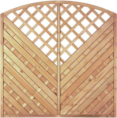 Maxi-Diagonal-Bogen-Serie Rankaussch. grün 180 x 180/160 cm Rahmen 45/45 mm, Lamellen geriffelt & ge