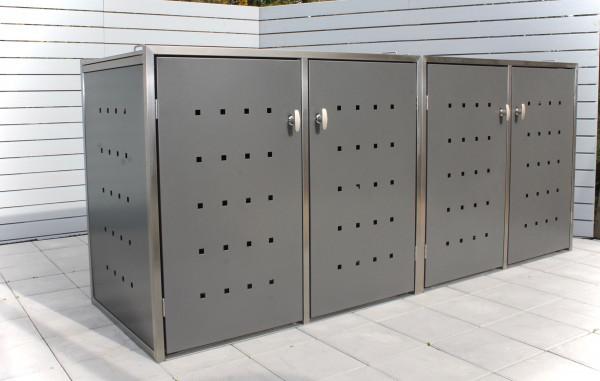 INNING 4er-Müllbox Anthrazit B 2230 x T 600 x H 1000 mm für 2 Tonnen bis 120 l Edelstahl pulverbesch
