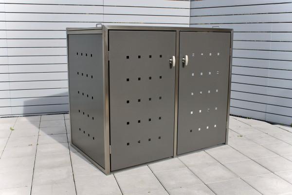 IRSEE 2er-Müllbox Anthrazit B 1320 x T 800 x H 1120 mm für 2 Tonnen bis 240 l Edelstahl pulverbeschi