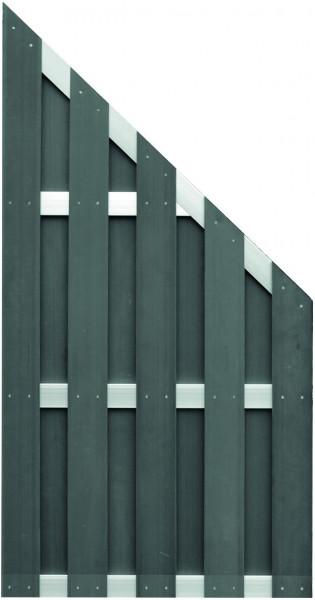 JINAN-Serie ECKE anthrazit 90 x 180/90 cm, WPC-Bretterzaun Querriegel ALU anodisiert