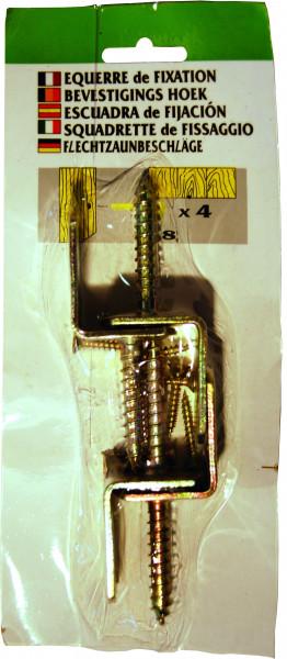 Winkelbeschlag 4er-Karte, gelb verzinkt, geblistert, mit Schrauben # 1 Stück = 1x 4er-Karte #