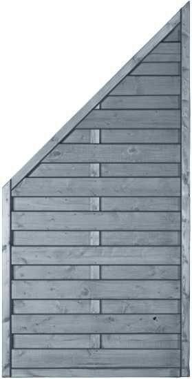 MOONLINE-Serie ECKE 90 x 180/90 cm Rahmen 45 x 45 mm, grau lasiert
