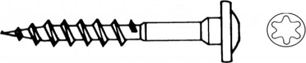 Schraube für Bodenhülsen 7,0 x 50 mm, Strongi RSS Paket á 4 Stück, Stahlbeschichtet