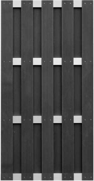 ELDENA-Serie ANTHRAZIT 90 x 180 cm, WPC-Bretterzaun 4 Querriegel ALU hell eloxiert #08020190 BL