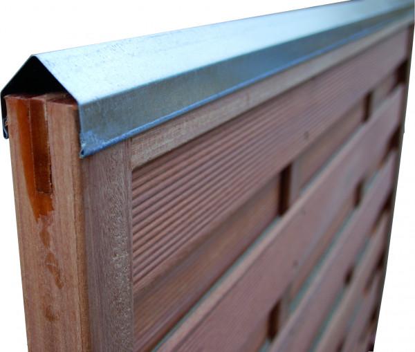 PROTEC Schützt den Zaun Rahmenprofil Stahloptik 180 cm lang