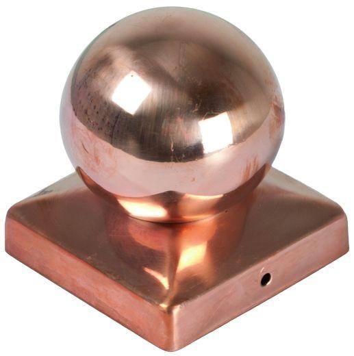 Pfostenabdeckung aus Metall 9 x 9 cm Kugel Kupfer