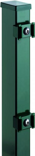 TOM ECK-Zaunpfosten RAL 6005 grün f. 830 mm Zaun, RR60/40 x 1300 mm mit Klemmhalter