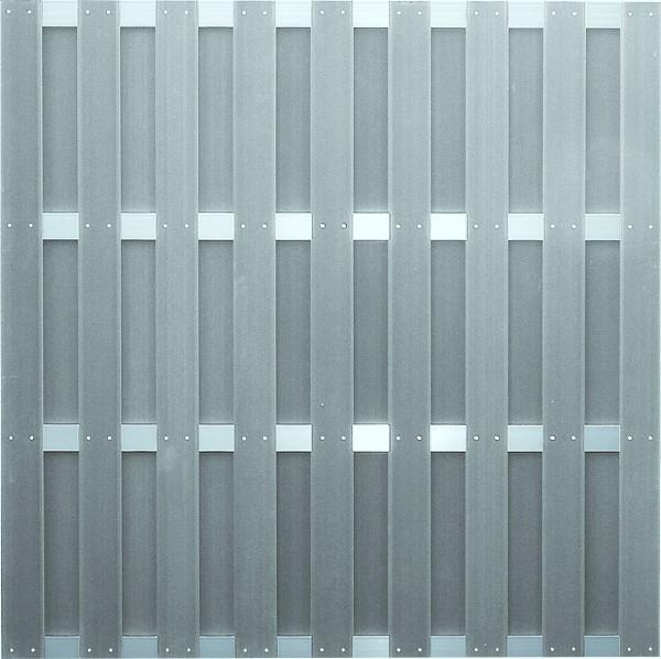 JINAN-Serie grau 180 x 180 cm, WPC-Bretterzaun Querriegel ALU anodisiert #08020190 GY