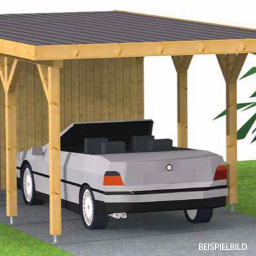 Flachdach -Carport 300 x 500 cm freistehend aus Fichte KVH