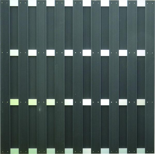 JINAN-Serie anthrazit 180 x 180 cm, WPC-Bretterzaun Querriegel ALU anodisiert #08020190 BL