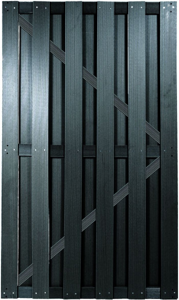 SHANGHAI-Serie TÜR anthrazit 90 x 180 cm, WPC-Brettertür inkl. Beschlagset, Schloß und Drücker